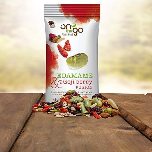 On The Go Roasted & Salted Edamame Bean Trail Mix blended with Goji Berries and