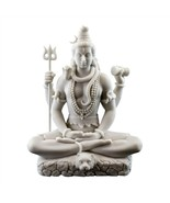 "LORD SHIVA STATUE 8"" Hindu Indian God White Marble Finish Resin Seated F... - $65.95"