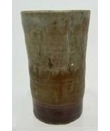 Signed WB Mid-Century Glazed Studio Pottery Vase Brown Gray Green - $15.83