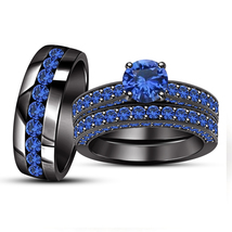 Blue Sapphire His & Her Wedding Trio Ring Set 14k Black Gold Finish 925 Silver - $164.47