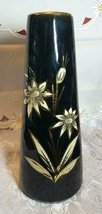 """VINTAGE 11.25"""" TALL MID CENTURY SCHEURICH FOREIGN VASE BLACK GOLD & CREAM COLORS"""