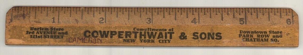 Cowperthwait & Sons vintage advertising ruler  NY  Furniture