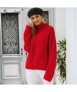 Simplee Turtleneck knitted sweater Women red casual winter pullover Autu... - $48.33
