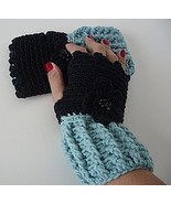 Black and Soft Sage Fingerless Gloves/crochet/handmade/gift/women/glovel... - $15.00
