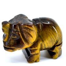 Tiger's Eye Gemstone Tiny Miniature Elephant Figurine Hand Carved in China image 2