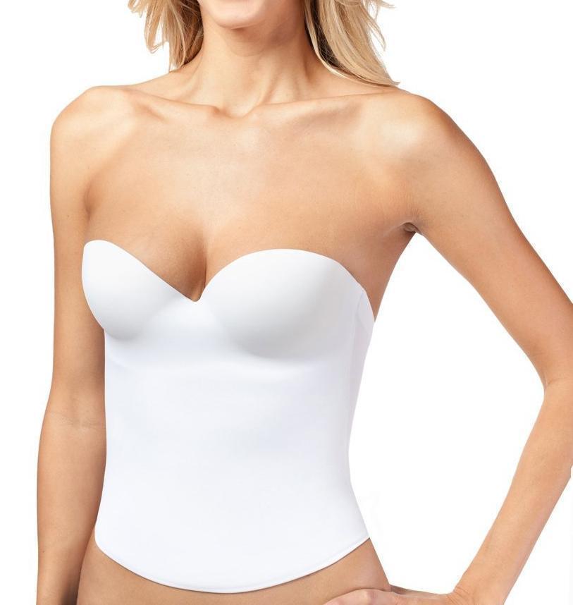 Women's Strapless Padded Push Up Shapewear Slimming Corset White #2052
