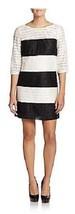 Jessica Simpson Dress Sz 12 Black Ivory Color Block Lace Evening Cocktail Dress - $73.73