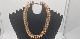 Vintage Marked Old Copper Modernist Rectangle Link Style Design Necklace - $48.42