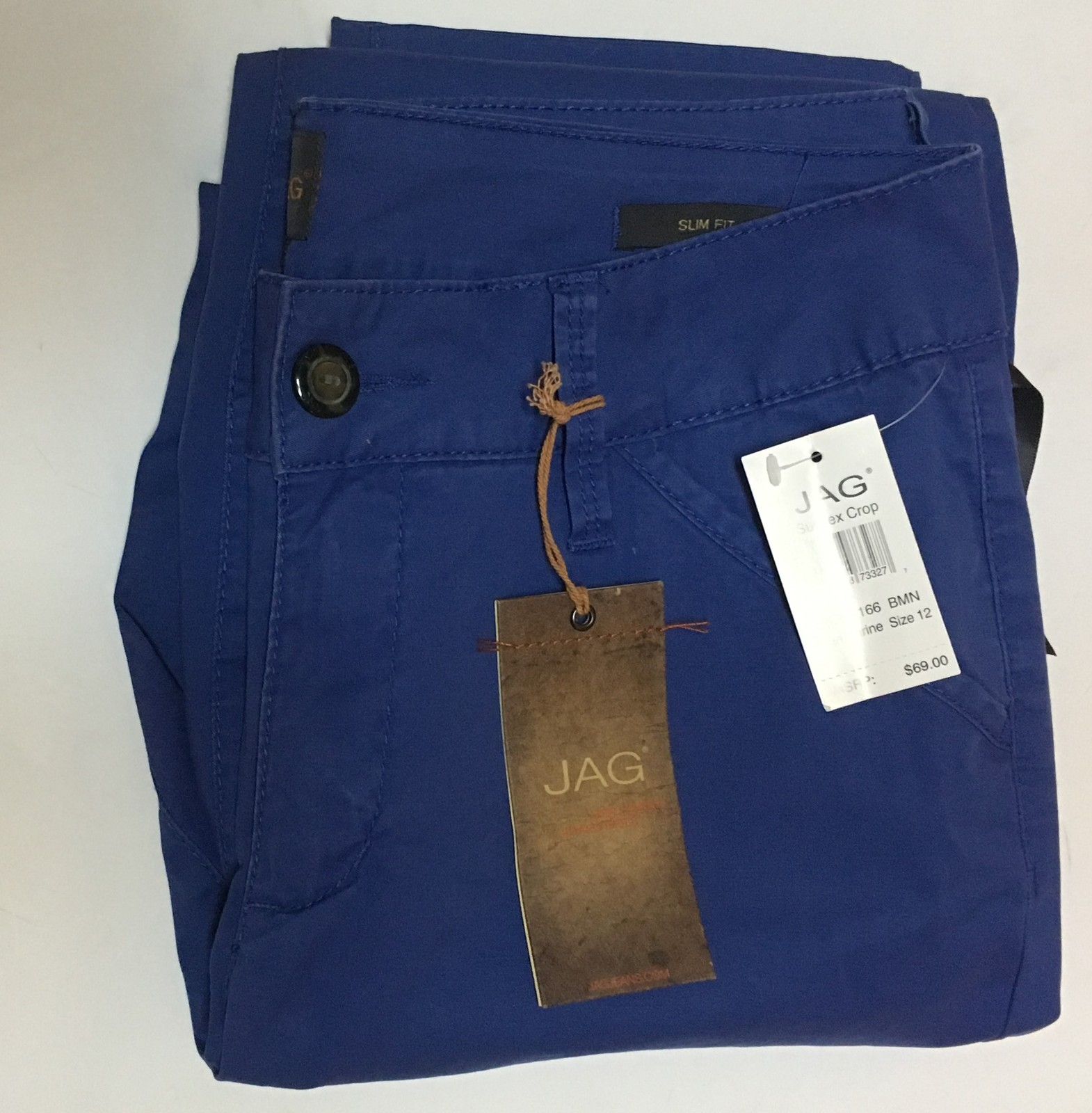 Nordstrom JAG Slim Fit Capri Pants Blue Marine Sz 12 NEW