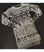 Gap 8 9 Black Gray Sweater Dress Geo Print Nordic High Low Hem Holiday - $13.99