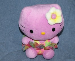 "TY Hello Kitty CAT 5"" Stuffed Plush Purple Hawaiian Flower Hula Tutu Ski... - $12.57"
