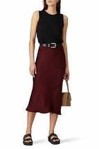 Anine Bing BURGUNDY Women's Bar Silk Midi Skirt, L - $73.95