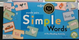 Simple Words Puzzle Pairs 48 Pieces Complete Best Toy Award Gold Seal eeBoo - $15.42