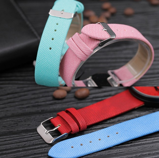 Round Simple Fashion Watches Canvas Belt Unisex Casual Wristwatch Box image 3