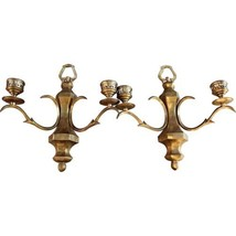 PAIR 2 DOUBLE ARM BRONZE WALL SCONCES CANDLE HOLDERS BRASS VINTAGE ANTIQUE - $1,436.39