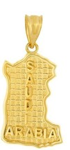 Solid 14k Yellow Gold Saudi Arabia Map Charm Pendant - $477.04