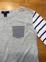 Gap Kids Girl's Gray, Blue & White Striped Pocket Shirt - Size: Medium image 6
