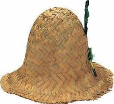 HILLBILLY HAT WOVEN STRAW WITH FEATHER - $7.00