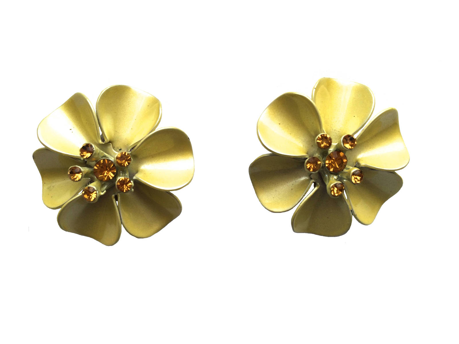 Vintage Pretty Yellow Enamel Orange Rhinestone Flower Clip On Earrings, gift for