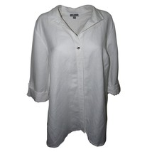 Jm Collection Wing-Collar Roll-Tab Shirt Bright White Large MSRP 54.5 New - $34.52