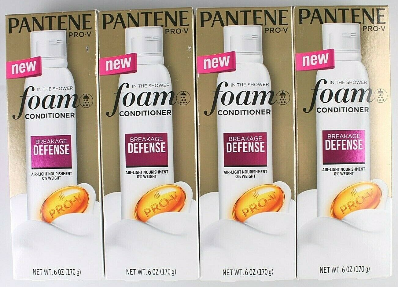 4 Pack Pantene Pro-V in the Shower Breakage Defense Foam Conditioner 6 oz