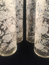 Vintage 70s Libbey White Roses pattern collins glasses set of 4 image 7