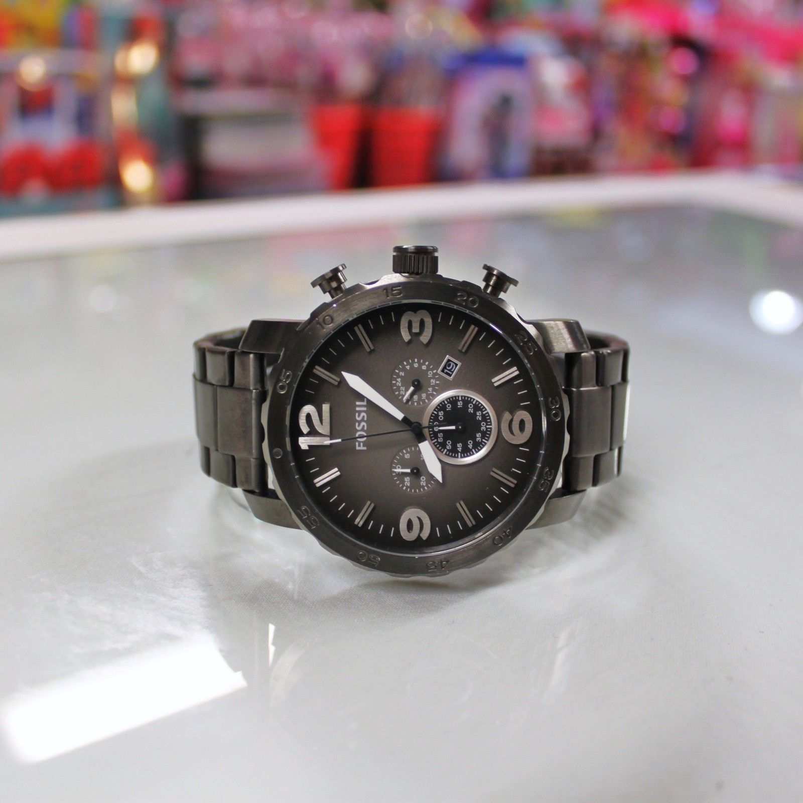 3a1e5a4076f3 New FOSSIL JR1437 NATE Chronograph Smoke Grey Stainless Steel Watch for Men