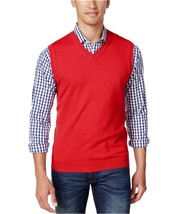 Club Room Men's Anthem Red Cotton Sleeveless V-Neck Vest Knit Sweater - £19.56 GBP
