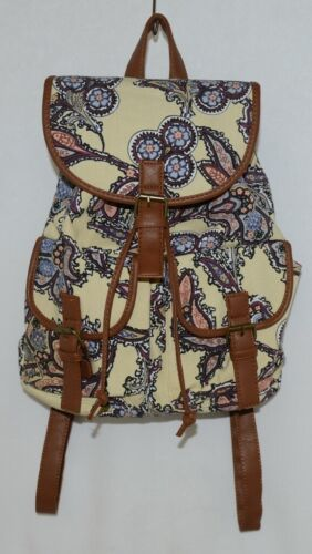 Howards Backpack Yellow Multicolor Paisley Type Print Canvas Leather Like Trim