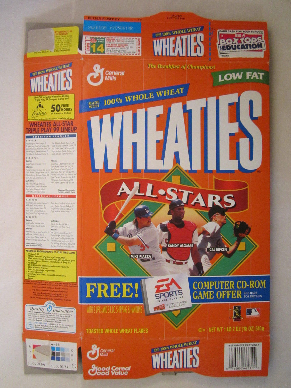 Primary image for Empty WHEATIES Box 1998 14.75oz ALL STARS Piazza Alomar Ripken [Z202h1]