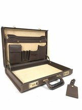 Coach Vintage Brown Leather Hard Executive Briefcase Attaché Lawyer Comb... - $200.00