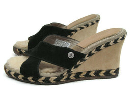 Ugg Austrailia Margot 1689 Womens Black Beige Leather Wedge Slip On Shoe... - $36.26