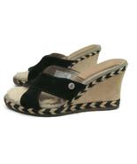 Ugg Austrailia Margot 1689 Womens Black Beige Leather Wedge Slip On Shoe... - $36.26