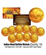 Lot of 10 Full Date BUFFALO NICKELS US Coins Gold Plated Indian Head -Be... - $29.65