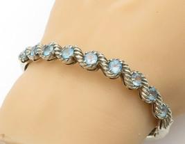 925 Sterling Silver - Vintage Blue Topaz Twist Swirl Bangle Bracelet - B... - $71.06