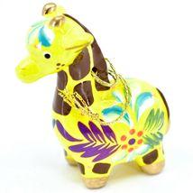 Handcrafted Painted Ceramic Yellow Giraffe Confetti Ornament Made in Peru image 3