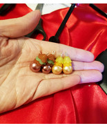 pearl flower drop pendants big glass pearl beads pearl charms gold coppe... - $3.99
