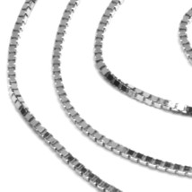 """SOLID 18K WHITE GOLD CHAIN 1.1 MM VENETIAN SQUARE BOX 15.75"""", 40 cm, ITALY MADE image 2"""