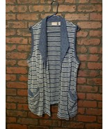 Chico's Open Cardigan Pockets Blue White Stripe Knit Sz 2 - $19.99