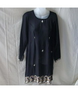 Medium sheer black rayon East Indian dress with... - $10.00