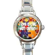 Ladies Round Italian Charm Watch Autism Awareness Love Child Heal 26021782 - $11.99