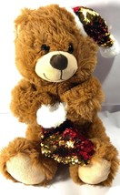 "Best Made Toys Brown Teddy Bear Christmas Plush Stuffed Animal Sequins Flip 12"" - $10.88"