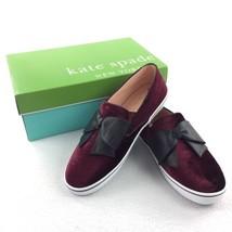 Kate Spade Delise Too Bordeaux Velvet Black Nappa Bow Flats Shoes Size 8... - $98.01