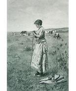 SHEPHERDESS Alone Pensive !! VICTORIAN Photogravure - $23.91