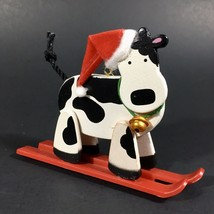"Vintage 'Holly Jolly Skiing Cow"" Christmas Ornament Avon Gift Collection... - $8.56"