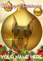 Doberman Dog Bauble Merry Christmas Personalised Greeting Card Xmas CodeB187 - $3.88