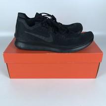 Nike Free RN Flyknit Men's Size 14 Triple Black Running Shoes 880843-010 - $87.87