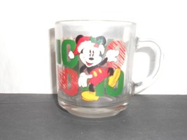 Anchor Hocking Disney Santa Mickey Mouse Holiday Ho Ho Ho Christmas glass Mug - $9.04
