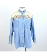 Vtg 1990s Southwestern Patchwork Denim Shirt Pearl Snap Long Sleeve Top ... - $19.79