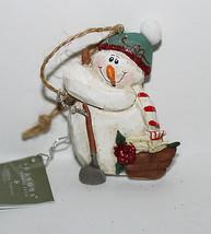 """Eddie Walker NWT 2.5"""" Garden Snowman Ornament Figure w/ Hoe - $15.87"""